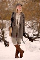 burnt orange Sheinside coat - tawny Oasis boots - tan Victorias Secret jeans