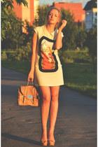 neutral Romwecom dress - nude Pixics bag - nude asoscom heels