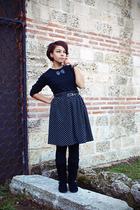 black blouse - black boots - black handmade skirt - silver Stradivarius bracelet