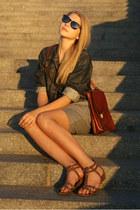 dark brown vintage bag - heather gray dress - navy vintage jacket