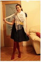 vintage my moms scarf - Mango dress - thrift belt - unknown socks