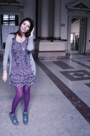 gray Mango cardigan - purple Mango dress - purple Accessorize stockings - gray M