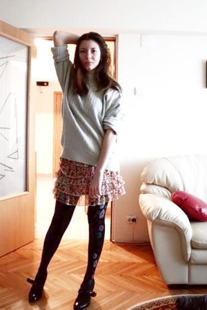 sweater - Pull & Bear skirt - tights - REPLAY shoes