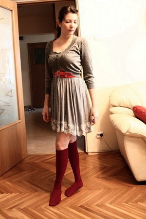 Mango sweater - Mango dress - thrifted belt - unknown socks