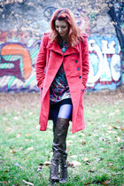 brown over the knee Nine West boots - Lashez dress - red Mango coat