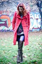 brown over the knee Nine West boots - Lashez dress - red Mango coat