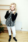 White-zara-jeans-gray-cc-cardigan-black-esprit-top-black-dune-boots-silv
