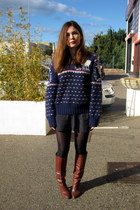 navy vintage jumper - brown Topshop boots