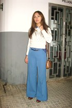 brown Bimba & Lola bag - blue vintage pants