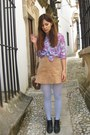 Light-purple-paisley-shirt-tan-suede-skirt