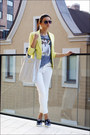 Light-yellow-victorias-secret-blazer-silver-silver-hobo-colins-bag