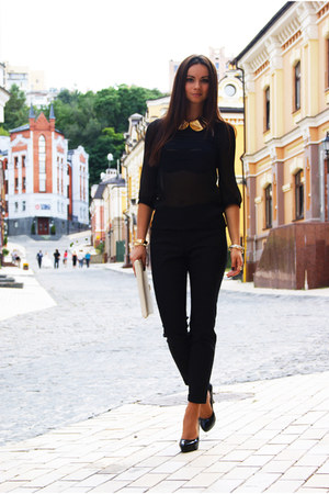 black croped polo gaeage pants - chiffon Zara blouse