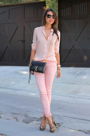 black Rebecca Minkoff bag - light pink Paige Denim jeans