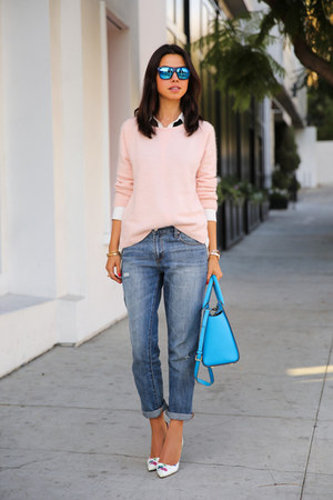 sky blue Michael Kors bag - navy Gap jeans - light pink sweater
