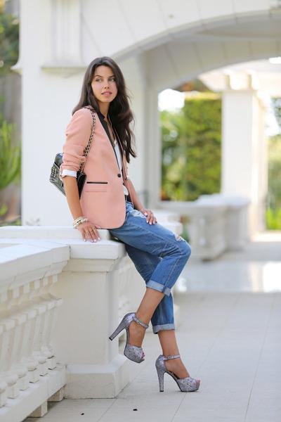 peach Sandro Paris blazer - periwinkle MINUSEY jeans - black Rebecca Minkoff bag