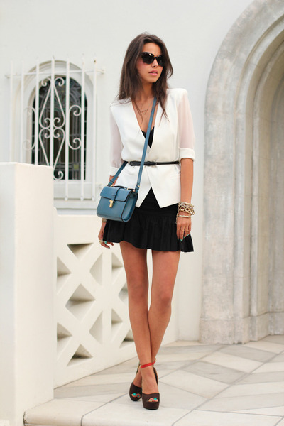 teal Zara bag - black French Connection dress - white MINUSEY blazer