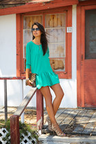 turquoise blue BonLook sunglasses - green Lovers  Friends dress