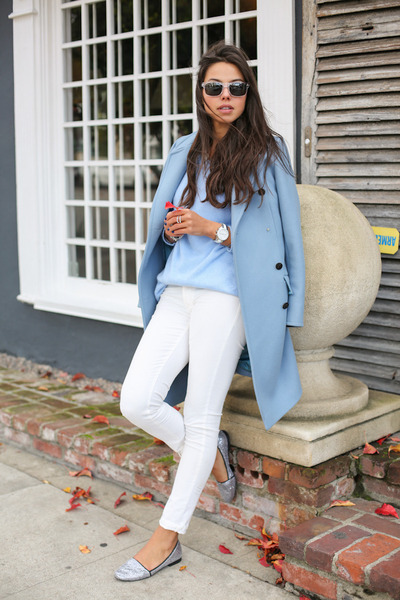 periwinkle paul & joe coat - white James Jeans pants