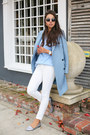 Periwinkle-paul-joe-coat-white-james-jeans-pants