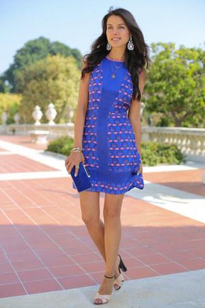 blue Harlyn dress - blue dvf bag - light pink Giuseppe Zanotti heels