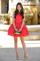 black dvf bag - red asos dress - gold Giuseppe Zanotti heels