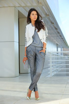 white Shop Akira blazer - black Lancaster Paris bag - silver Alice  Olivia heels