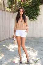 ivory Marc Jacobs bag - white asos shorts - camel Haute Hippe blouse