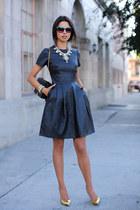 gold Giuseppe Zanotti heels - black Iris & Ink dress - gold J Crew necklace