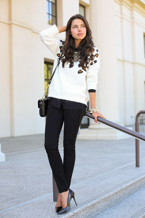 white SANDRO sweater - black James Jeans jeans - black Milly NY bag