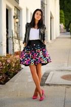 hot pink milly skirt - black IRO jacket - hot pink Sergio Rossi heels