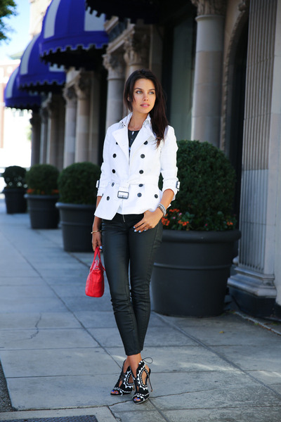 white Burberry coat - black Rich & Skinny jeans - red Givenchy bag