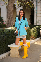 turquoise blue J Crew coat - yellow Hunter boots - white Juicy Couture dress