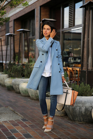 sky blue paul & joe coat - navy Rich & Skinny jeans - brown BCBG bag