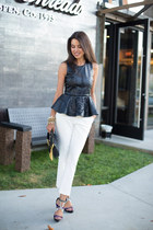black Zara top - black Rebecca Minkoff bag - white Glamrockchic heels