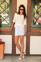 white Amber Avenue skirt - amethyst Rebecca Minkoff bag - white Zara top