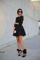 black keepsake dress - silver Tasha bag - black Vogue sunglasses