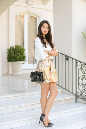 tan See by Chloe skirt - black Rebecca Minkoff bag - white Zara blouse