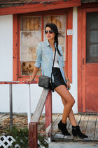 black Gucci bag - black Barbara Bui boots - sky blue Levis shirt