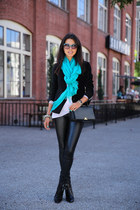 teal Spun by Subtle Luxury scarf - black Zadig & Voltaire jacket