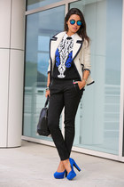 black Alexander Wang bag - white J Crew coat - blue Nasty Gal sweater