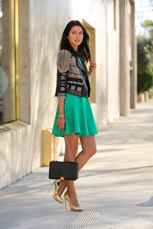 black BCBG jacket - green ted baker dress - black emporio armani bag