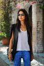 Black-nasty-gal-blazer-blue-hudson-jeans-black-proenza-schouler-bag