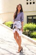 Helmut Lang skirt - 3 1 phillip lim bag - Giuseppe Zanotti heels - BCBG blouse