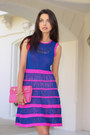 Blue-nanette-lepore-dress-hot-pink-rebecca-minkoff-bag-white-tibi-heels