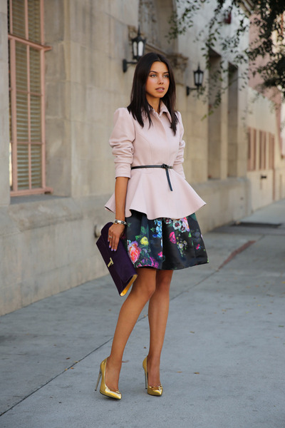 black ted baker skirt - light pink ted baker coat - deep purple ted baker bag