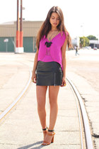 hot pink In My Air top - black Kahlo skirt - brown Zara heels