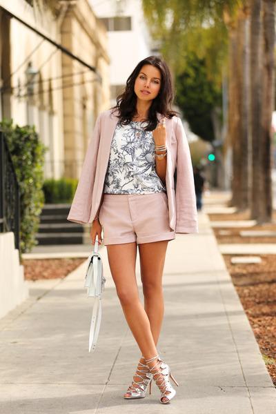 light pink Joie blazer - light pink Joie shorts - silver Schutz heels