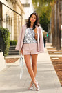 Light-pink-joie-blazer-light-pink-joie-shorts-silver-schutz-heels