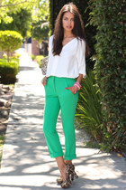 bronze Pink & Pepper heels - turquoise blue asos pants - ivory Zara top