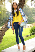 blue Bebe blazer - yellow 525 America sweater - sky blue Rebecca Minkoff bag
